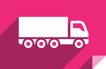 Lorry, transport flat icon, sticker square shape, modern color