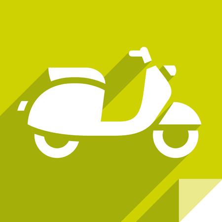Scooter, transport flat icon, sticker square shape, modern color Illustration