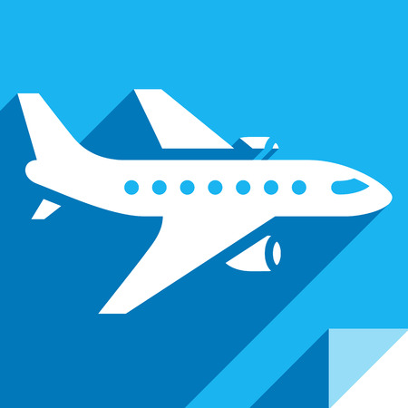 Aeroplane - Transport flat icon, sticker square shape, modern color