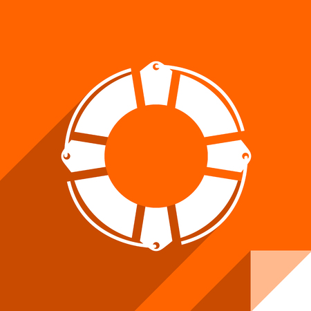Lifesaver, transport flat icon, sticker square shape, modern color