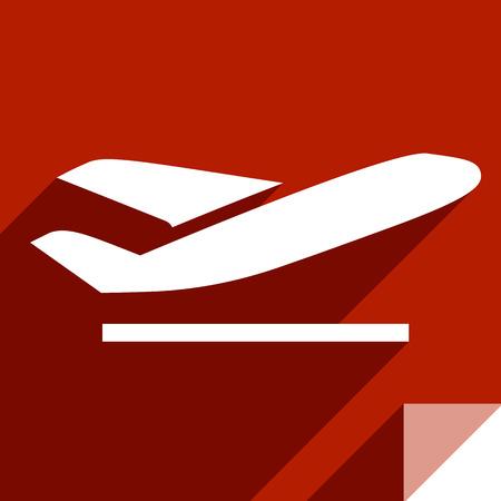 Aeroplane, transport flat icon, sticker square shape, modern color Ilustração