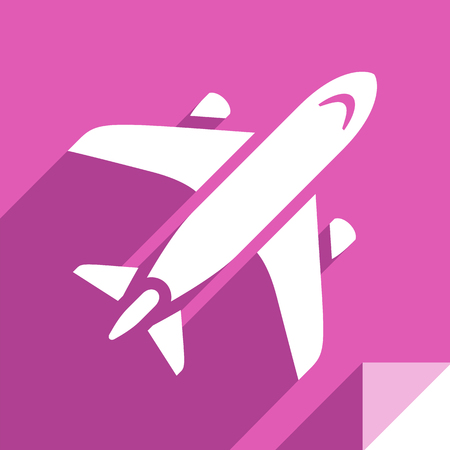 Aircraft, transport flat icon, sticker square shape, modern color 向量圖像