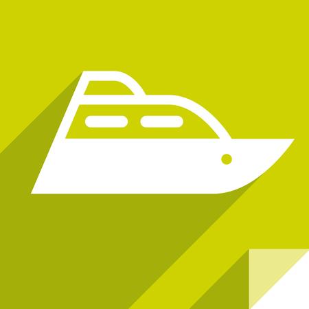 Motorboat, transport flat icon, sticker square shape, modern color Illustration