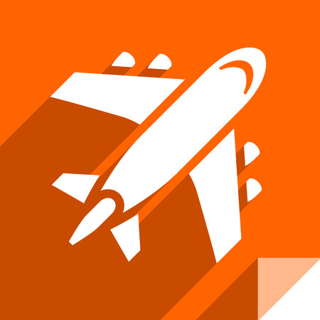 Aircraft, transport flat icon, sticker square shape, modern color Иллюстрация