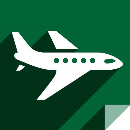 Aircraft, transport flat icon, sticker square shape, modern color Vektorové ilustrace