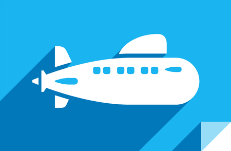 Submarine, transport flat icon, sticker square shape, modern color