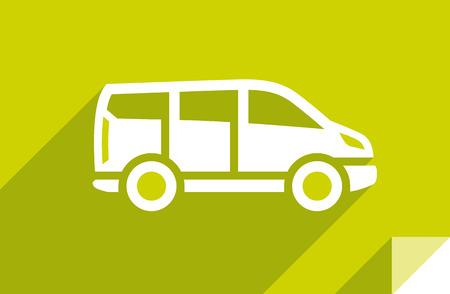Automóvil, icono plano de transporte, forma cuadrada de la etiqueta engomada, color moderno