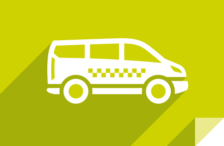 Coche de taxi, icono plano de transporte, forma cuadrada de la etiqueta engomada, color moderno