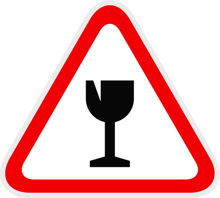 Triangular red Warning Hazard Symbol, vector illustration Ilustrace