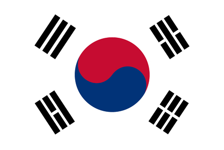 Flag of South Korea. Rectangular shape icon on white background, vector illustration. Imagens - 122793241