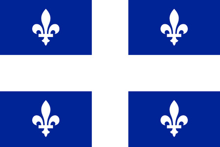 Flag of Quebec. Rectangular shape icon on white background, vector illustration.