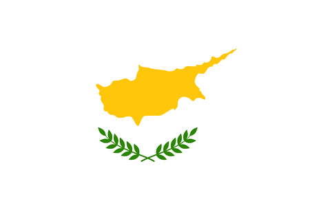 Flag of Cyprus. Rectangular shape icon on white background, vector illustration.
