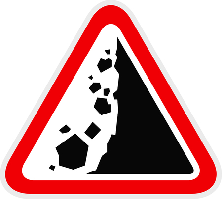 Triangular red Warning Hazard Symbol, vector illustration Ilustrace