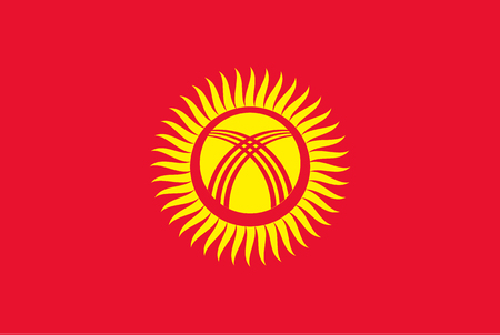 Flag of Kyrgyzstan. Rectangular shape icon on white background, vector illustration.
