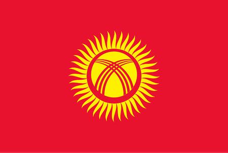 Flag of Kyrgyzstan. Rectangular shape icon on white background, vector illustration.