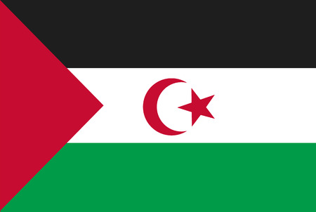 Flag of Western Sahara. Rectangular shape icon on white background, vector illustration.