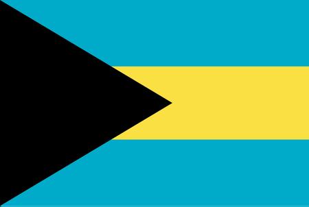 Flag of Bahamas. Rectangular shape icon on white background, vector illustration. Illustration