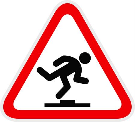 Triangular red Warning Hazard Symbol, vector illustration Illustration