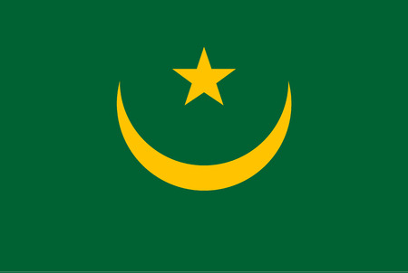 Flag of Mauritania until 2017. Rectangular shape icon on white background, vector illustration.