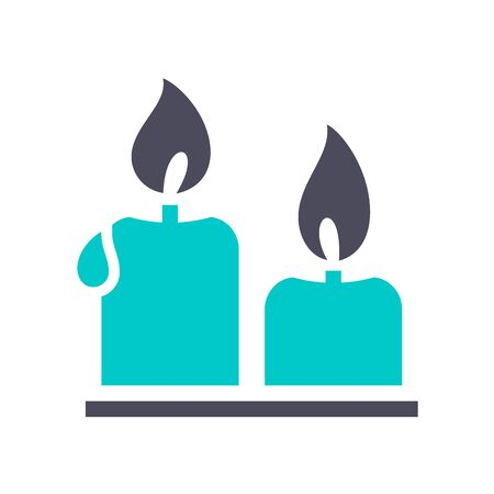 candles, gray turquoise icon on a white background