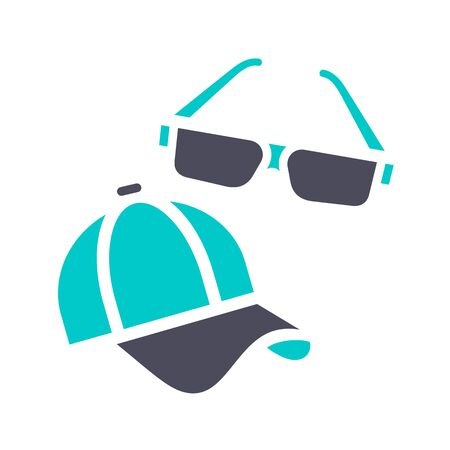 Sunglasses and cap, gray turquoise icon on a white background Vettoriali
