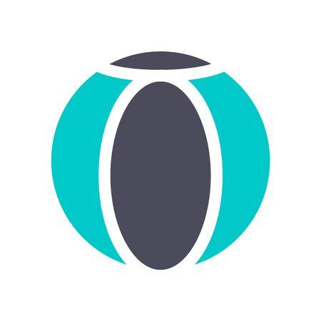Beach ball, gray turquoise icon on a white background