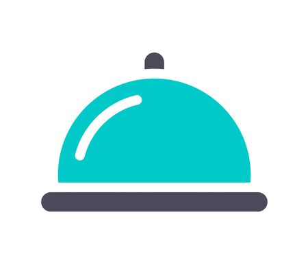 Restaurant cloche, gray turquoise icon on a white background