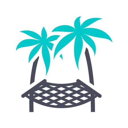 Hammock on a palm tree, gray turquoise icon on a white background