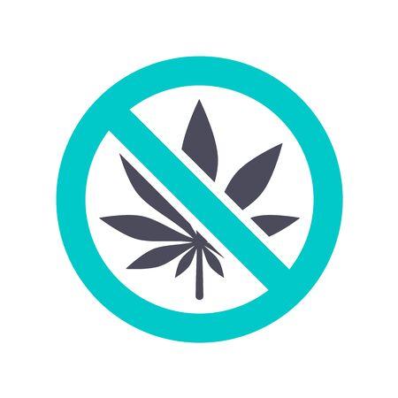 NO marijuana icon, gray turquoise icon on a white background 向量圖像