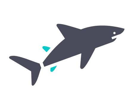 Shark, gray turquoise icon on a white background