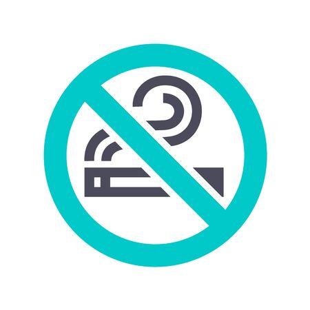No smoking icon, gray turquoise icon on a white background