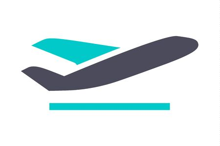 Plane up, icon, gray turquoise icon on a white background