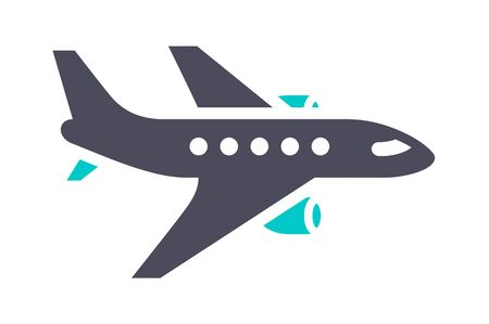 Airliner icon, gray turquoise icon on a white background