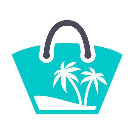 Beach bag, gray turquoise icon on a white background Vettoriali
