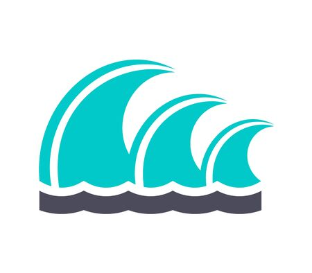 Waves, gray turquoise icon on a white background