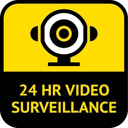 Video surveillance, cctv label square shape Ilustración de vector