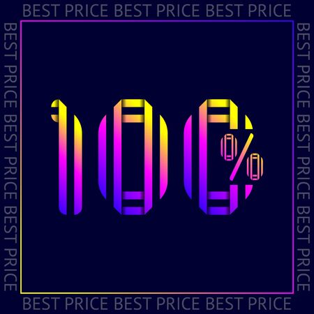 Discount 100 percent OFF Sale, abstract trendy template best price vector sign, web sticker