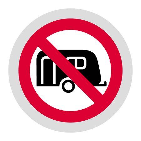 No camping cars and caravans forbidden sign, modern round sticker 向量圖像