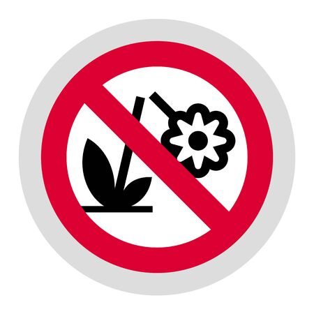 Don't destroy the Flower forbidden sign, modern round sticker