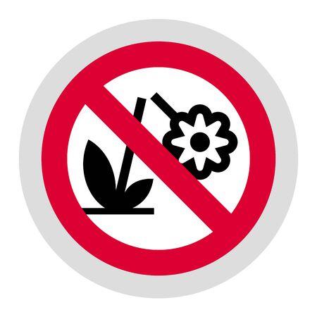 Don't destroy the Flower forbidden sign, modern round sticker