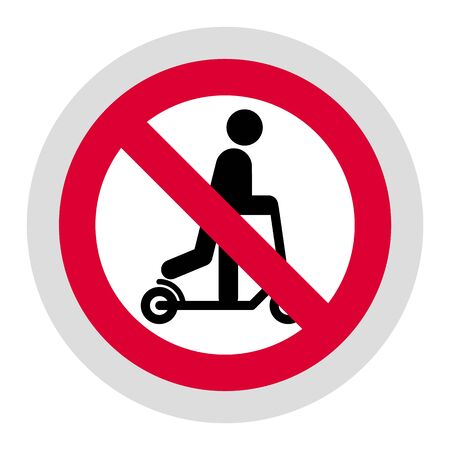 No push scooter forbidden sign, modern round sticker