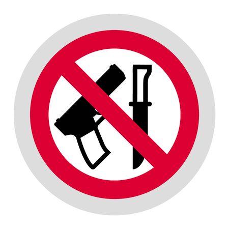 No weapon forbidden sign, modern round sticker