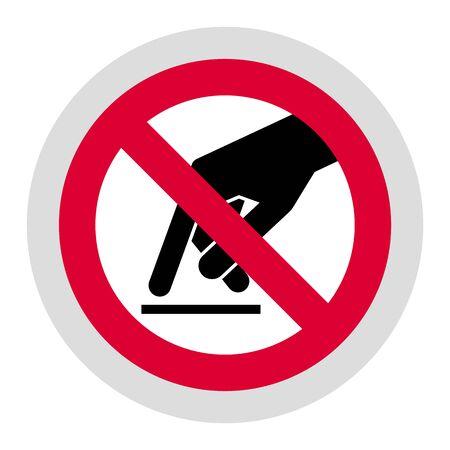 Do not touch forbidden sign, modern round sticker 스톡 콘텐츠 - 132769355