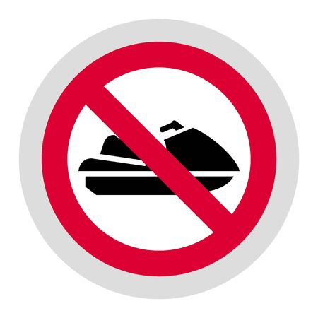 No Personal Watercraft forbidden sign, modern round sticker 向量圖像
