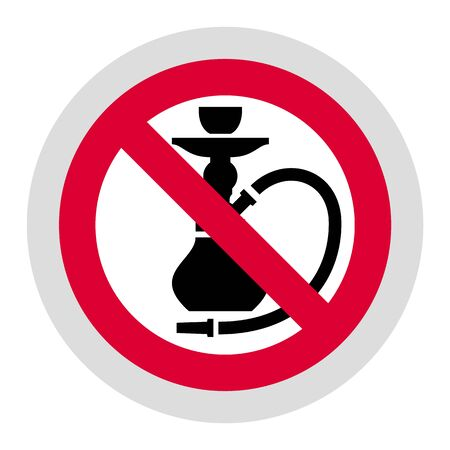 No smoking Hookah forbidden sign, modern round sticker