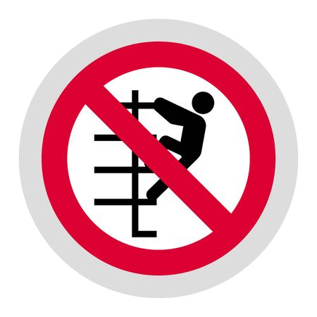Do not walk down stairs or No climb up forbidden sign, modern round sticker, vector illustration for your design