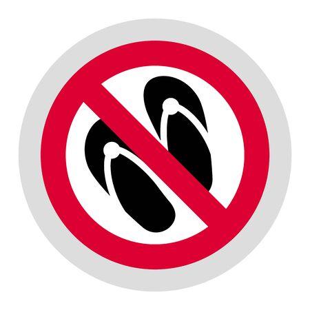 No slipper forbidden sign, modern round sticker