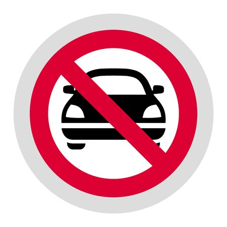 No cars and vehicles forbidden sign, modern round sticker, vector illustration for your design