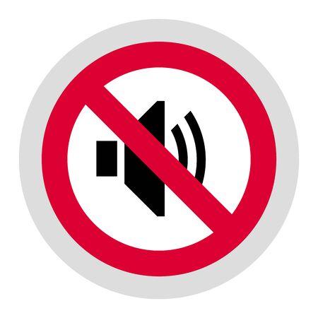 No hay señal de sonido prohibido, pegatina redonda moderna Ilustración de vector