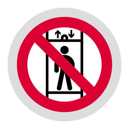 No Transportation of Persons or Do not use elevator forbidden sign, modern round sticker, vector illustration for your design Ilustracja